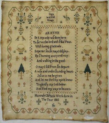 EARLY 19TH CENTURY  HYMN  & MOTIF SAMPLER BY HANNAH CLIFTON - 1805