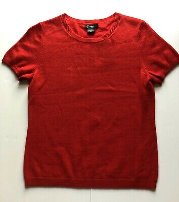 C By Bloomingdale's NWT Women's Cherry Red Cashmere Short Sleeve Sweater Size L