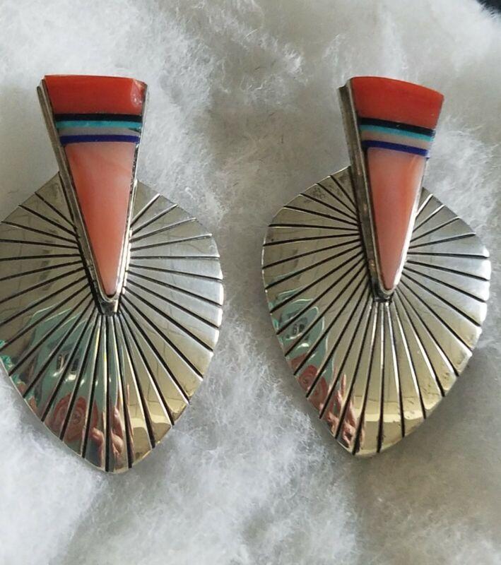 UNWORN Richard Begay, Navajo Vintage Collectible Sterling &Pink Coral Earrings