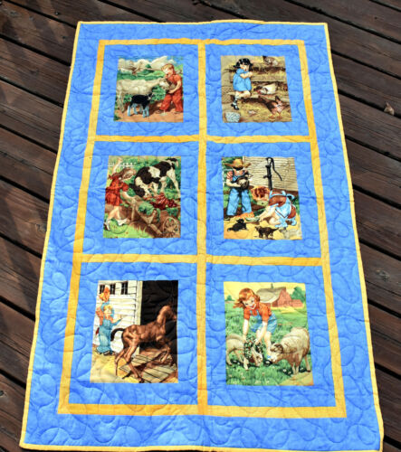 Adorable Handmade Childrens Farm Illustrations Patch Quilt Machine Quilted