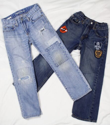 Gap Kids Jeans Patches Distressed 1969 Straight Fit Boys Size 6 Regular
