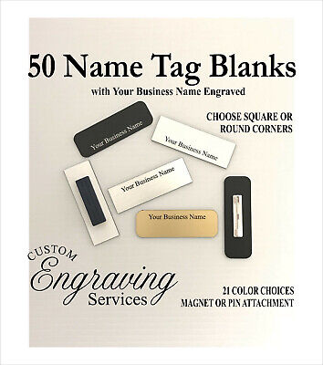 50 Name Tag Badge Business Name Engraved. 1x3 Wpin Or Magnet. 21 Colors.