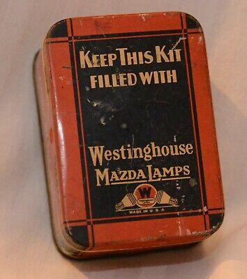 Vintage Westinghouse Automobile Mazda Lamp Kit. Tin Box original auto history