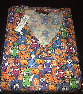 Halloween Print Scrub Top Kitty Costume Crossover by Melrose May-Hill Scrubs