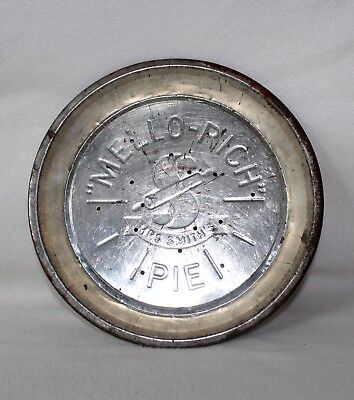 "Vintage ""MELLO-RICH MRS SMITH""S"" Tin/Metal Pie Plate With Holes Lot A"