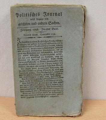 Politisches Journal, nebst Anzeige von gelehrten und ... Jahrgang 1798, 3 Hefte