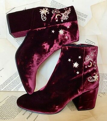 NEW Ash Wine Velvet Gold Star Embroidery Bought at Free People Boot 40/ 9- 9.5