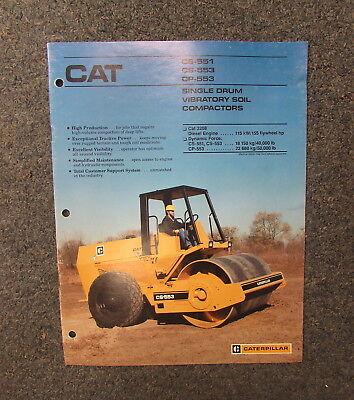 Cat Caterpillar Cs-551 Cs-553 Cp-553 Vibratory Compactor Brochure Manual 1987