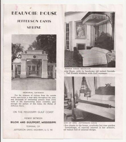 Beauvoir House Jefferson Davis Shrine on The Mississippi Golf Coast Brochure