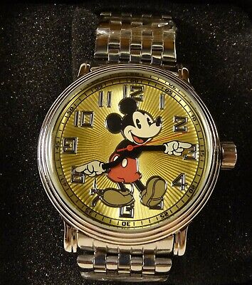 NEW Disney Mickey Mouse Chrome Silver Large Men's Gold Face Watch In Box