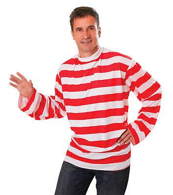 Wheres Wally Stil Herren Gestreift Hemd Erwachsene Kostüm - Wheres Wally Verkleiden