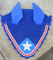 Fly Veil Bonnet Ear Net Mask Diamante Crystal Royal Blue Red & Silver Full - affordable horseware - ebay.co.uk