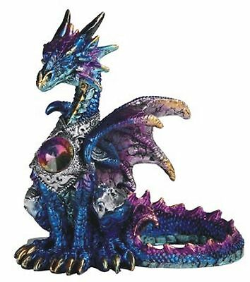 Blue Dragon with Gem Statuette Figurine Mythical Fantasy Collectible Decoration