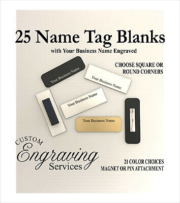 25 Name Tag Badge Business Name Engraved. 1x3 Wpin Or Magnet. 21 Colors.