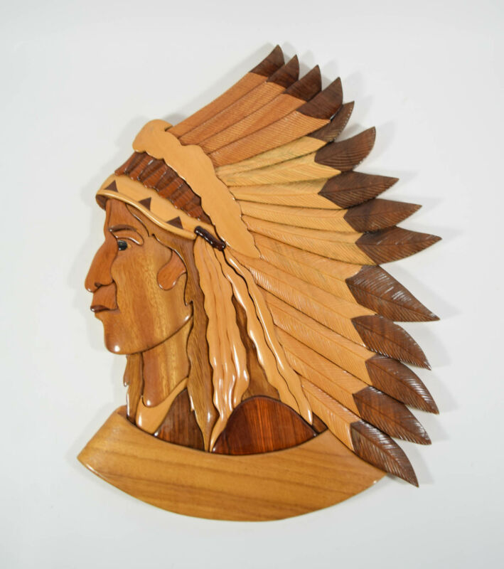 Handmade Carved Wood Panel Native American Indian Chief Wall Plaque Hanging