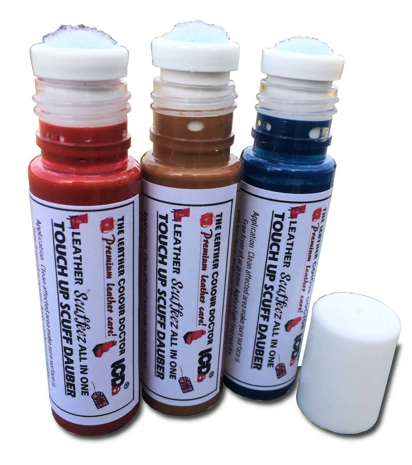 Leather dye touch up pen scratch repair dauber, colourant restorer dabber kit.