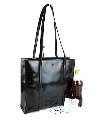 Authentic PRADA Milano Black Patent Leather Shoulder Hand Bag Tote Vintage Italy