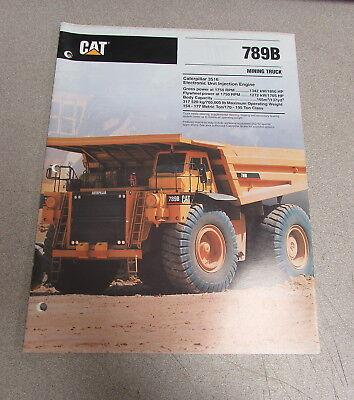 Cat Caterpillar 789b Mining Truck Dealers Brochure Manual 1992