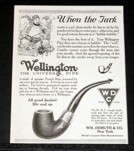 1917 OLD MAGAZINE PRINT AD, WDC WELLINGTON, UNIVERSAL PIPE, CLEAN & COOL SMOKE!