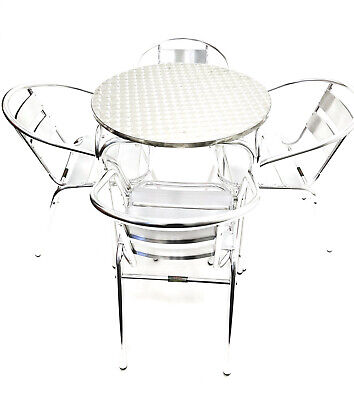 EX HIRE Aluminium Garden Furniture Set 4 chairs & 1 Round Table, Patio Sets