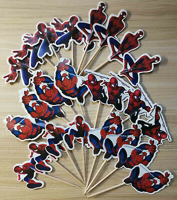PACK OF 24 SPIDERMAN SUPERHERO CUPCAKE CAKE TOPPER BIRTHDAY PARTY SUPPLIES DECOR - Spiderman Cupcake Topper