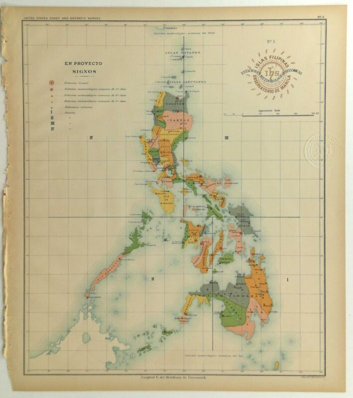 1899 Official US Navy Map Philippine Islands Seismic Earthquake Meteorlogical