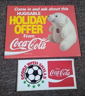 "2 Vintage COCA-COLA ITEMS....""HOLIDAY OFFER"" TEDDY BEAR SIGN + DECAL STICKER"