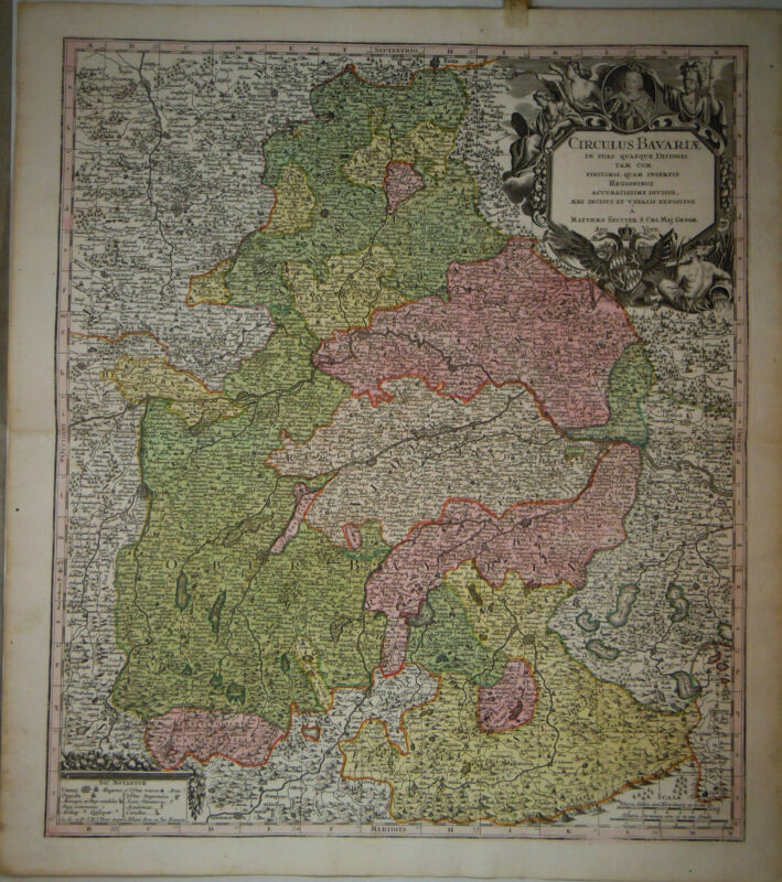 1745 Genuine Antique hand colored map Bavaria, Bavariae, Cartouche. G.M. Seutter