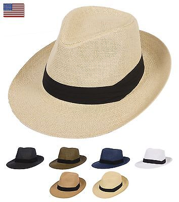 Summer Cool Outback Panama Wide brim Fedora Straw Indiana Jones Style Hat