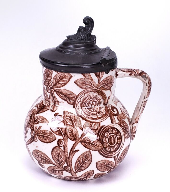 19th C Aesthetic Style Brown Transferware Small Pitcher / Syrup Jar
