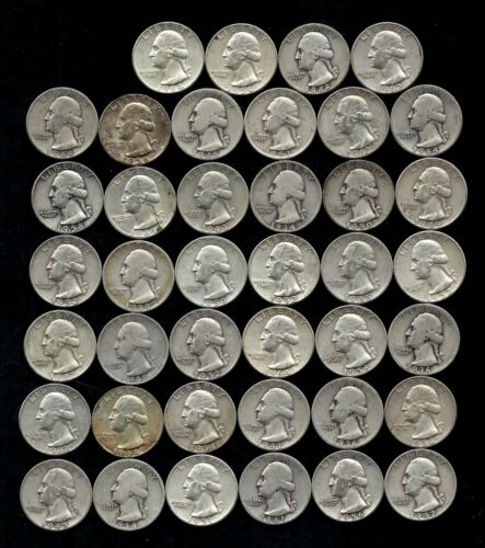 ONE ROLL OF WASHINGTON QUARTERS (1934-64)  90% Silver  (40 Coins)  LOT C48