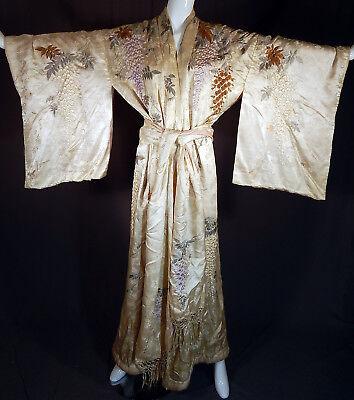 Antique Japanese White Silk Wisteria Embroidered Couching Kimono Robe & Sash Vtg