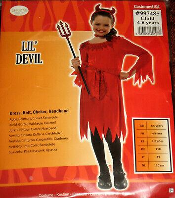 Halloween Kostüm Roter Teufel Gr. 110, 134 Lil Devil Karneval Fasching Mädchen ()