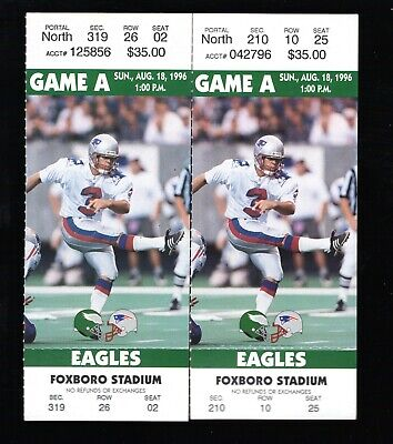 2 Aug 18, 1996 New England Patriots & Eagles Pre-Season Full Tickets 37-10 Pats