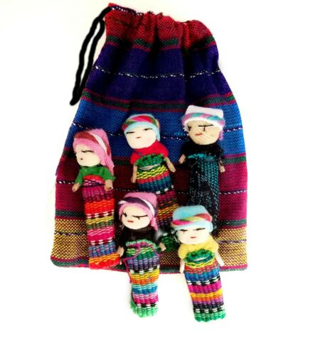 """LOT - 36 Pouches, Each Contains 6 Worry Dolls, Each Doll 2"""" Tall"""