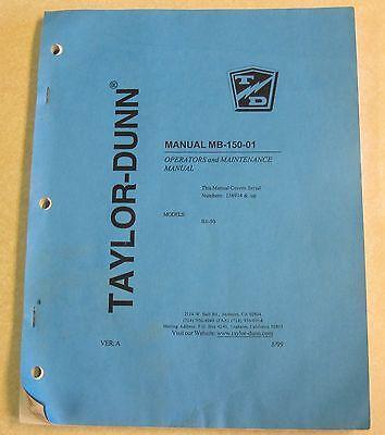 Taylor-dunn Model B1-50 Operation Maintenance Manual Mb-150-01