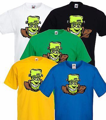 Cartoon frankenstein Monster Halloween Party T Shirt Costume. Adult Men Ladys