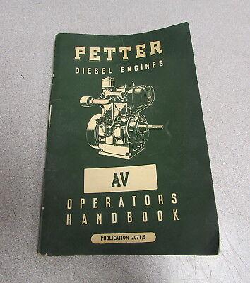 Petter Diesel Engines Av Operators Handbook Manual 20715