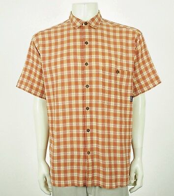 Patagonia Organic Cotton Orange Plaid Tech Button Shirt Mens Large