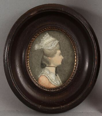 18thC Antique Miniature Folk Art Portrait Painting Woman & Unique Lace Hat, NR