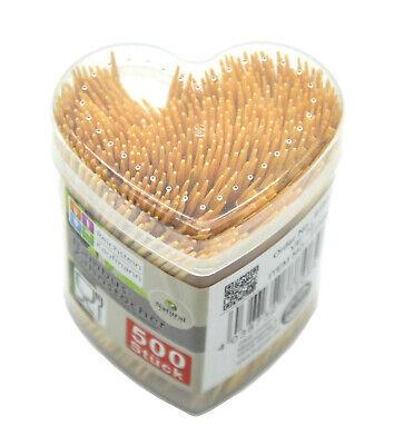 Bambus Zahnstocher in Herz Box 500 Stück Partypicker Käsepicker Sparpack