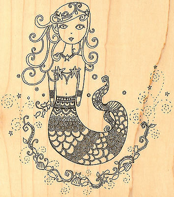 Mermaid, Wood Mounted Rubber Stamp Impression Obsession - New, J10027