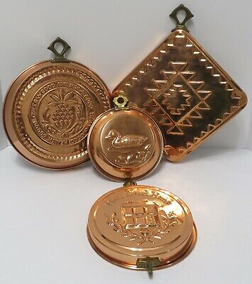 4 Vintage Copper Molds For Wall Decorations-Making Setting Foods Like Jello-Pate