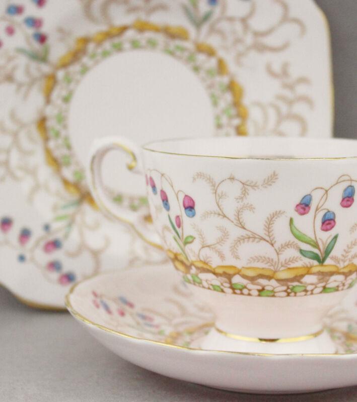 1950s Fine China Trio Tuscan 8875H Vintage Porcelain Cup Saucer Plate High Tea