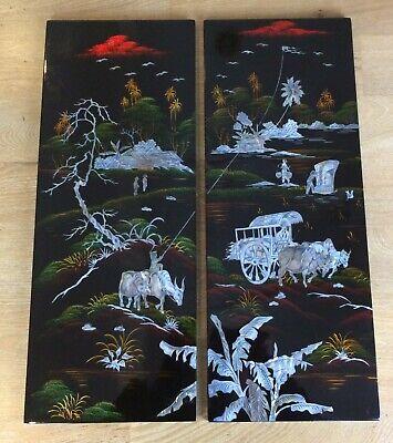 PAIR Vintage Vietnamese Mother of Pearl Black Lacquer Wall Panels Shibayama