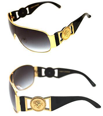7af3c23d3c5 Medusa Metal Gold Logo Black Gold Shield Aviator Sunglasses Vintage Hip Hop
