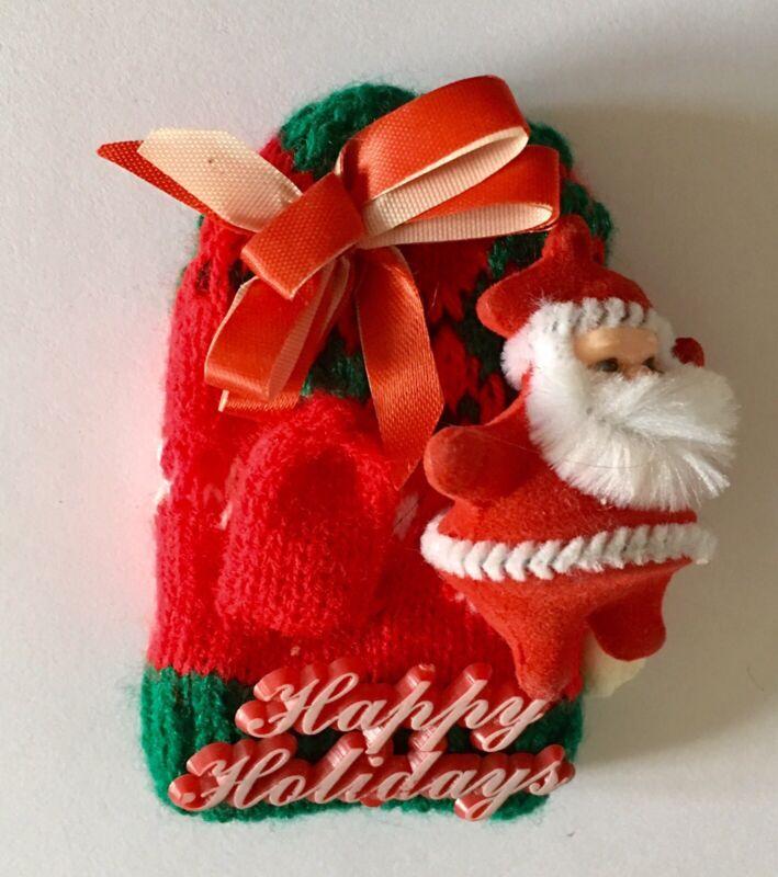 Vtg Christmas Santa Brooch Pin Mitten Ugly Xmas Sweater Ornament Holiday A642