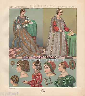 Female Outfits-Fashion-Ancient Rome-Italy-Women-1887 ANTIQUE VINTAGE ART PRINT