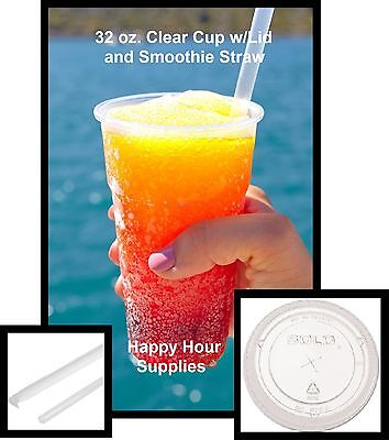 50 Clear Pet Plastic 32 Oz Cup W Flat Straw Slotted Lid Clear Straws Included