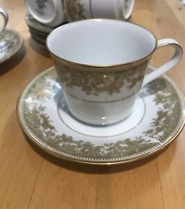 SOLD PENDING PICK UP - Noritake 'Lucerne' tea cups and saucers x 6